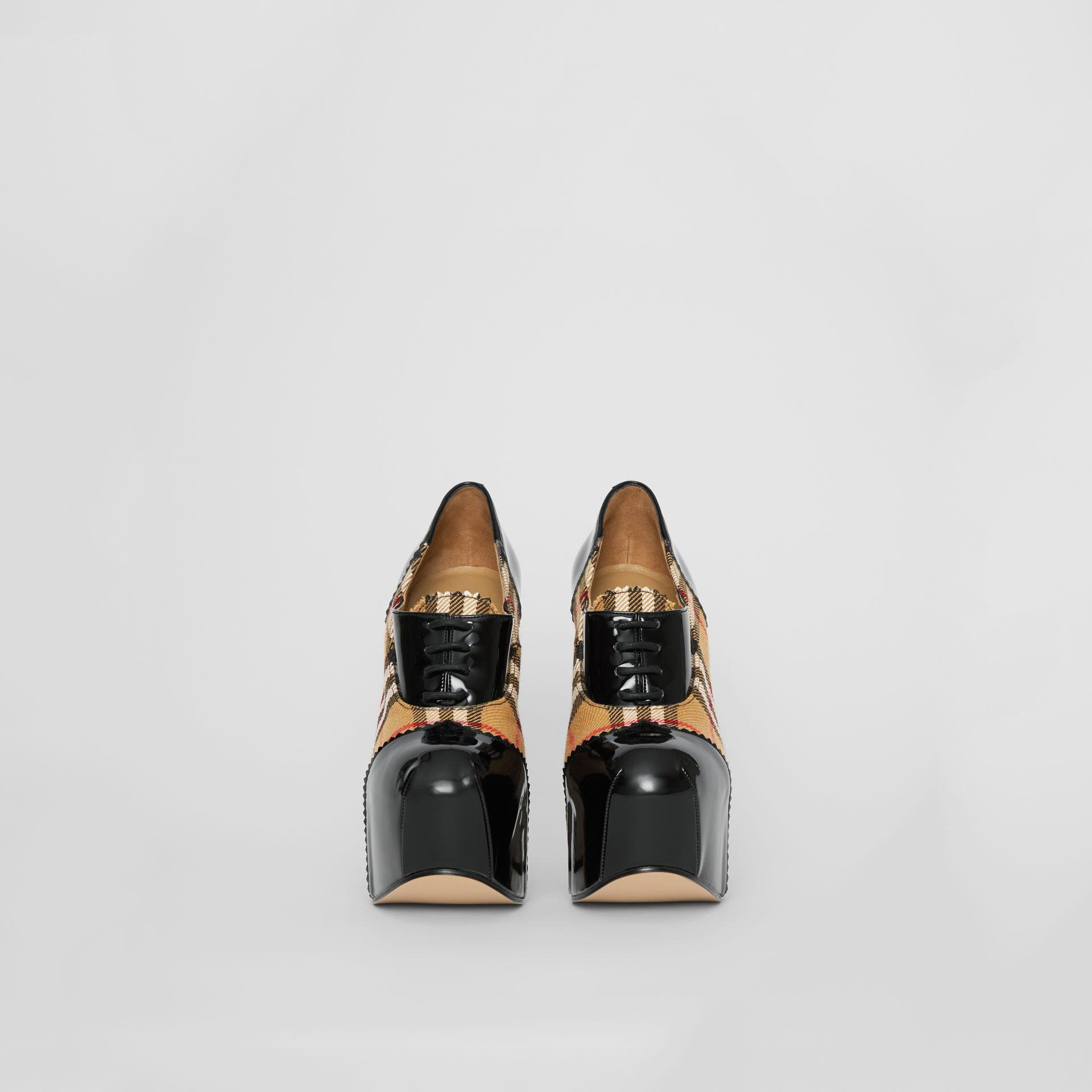 Vintage Check and Patent Lace-up Platforms in Black - Women | Burberry United States - gallery image 3