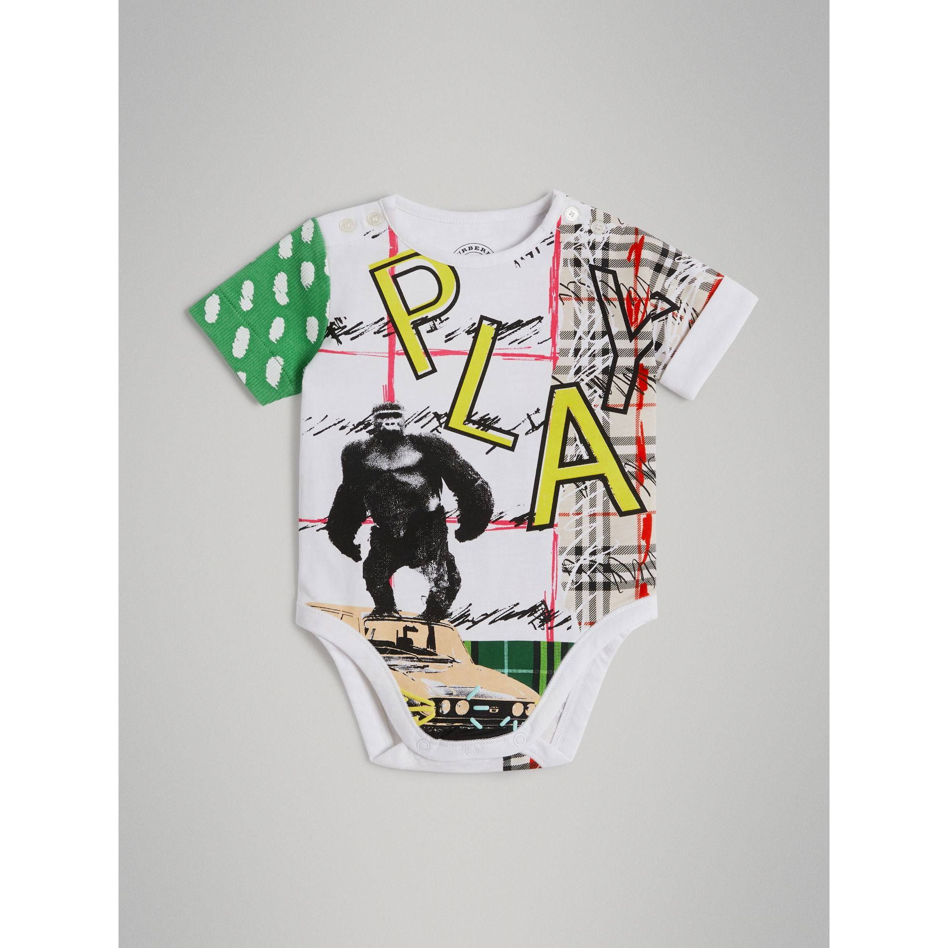 Play Graphic Print Cotton Bodysuit in White - Children | Burberry - gallery image 0