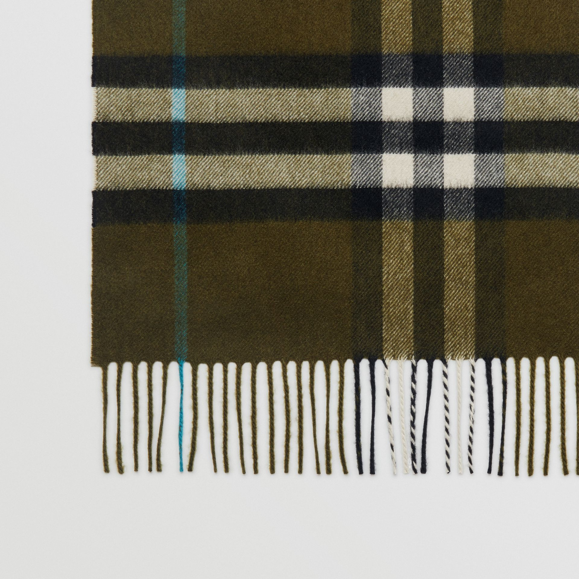 The Classic Check Cashmere Scarf in Antique Green | Burberry - gallery image 1