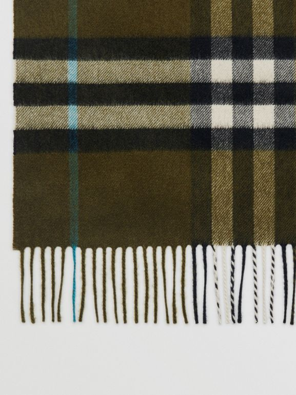 The Classic Check Cashmere Scarf in Antique Green | Burberry - cell image 1