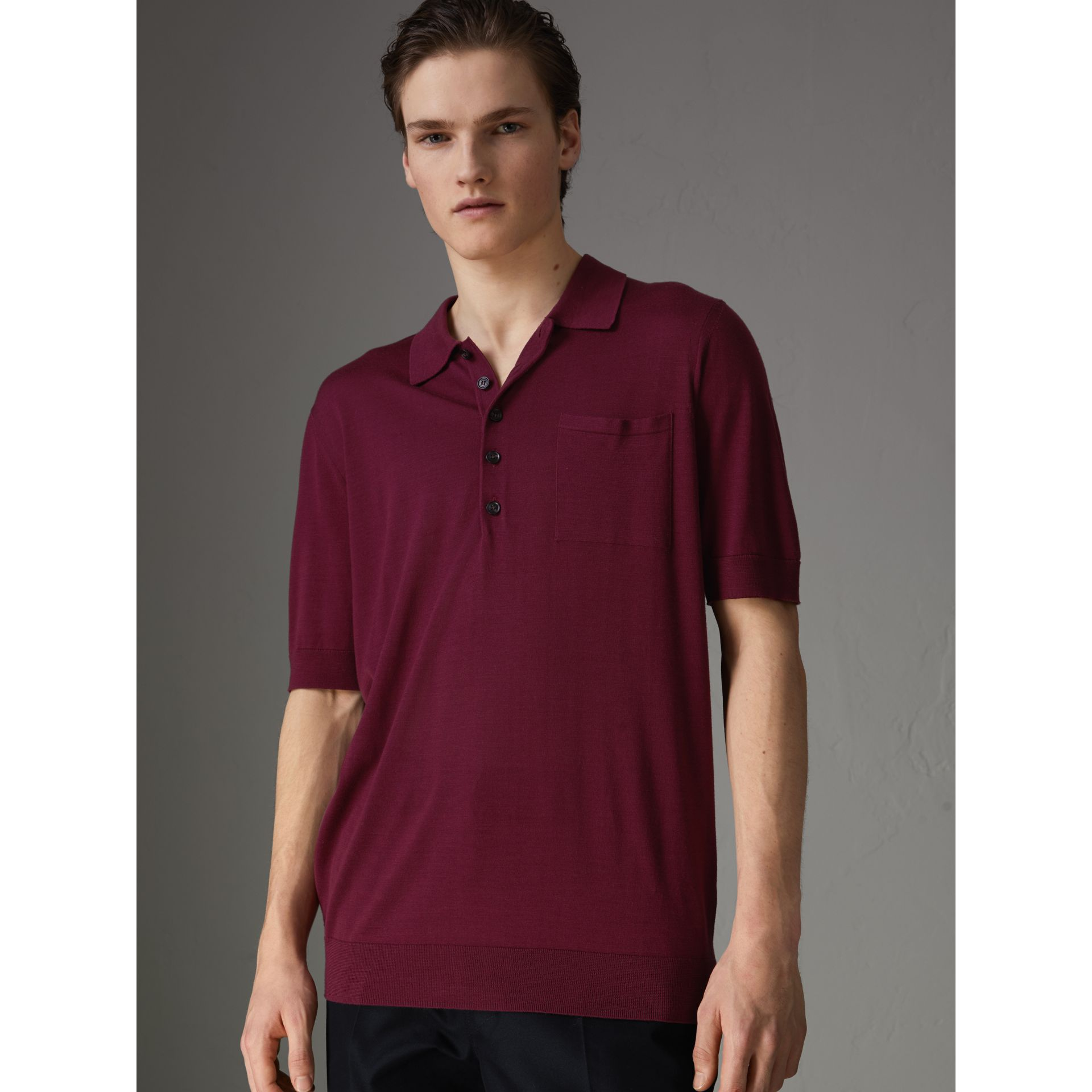 Knitted Silk Polo Shirt in Dark Crimson - Men | Burberry United Kingdom - gallery image 0
