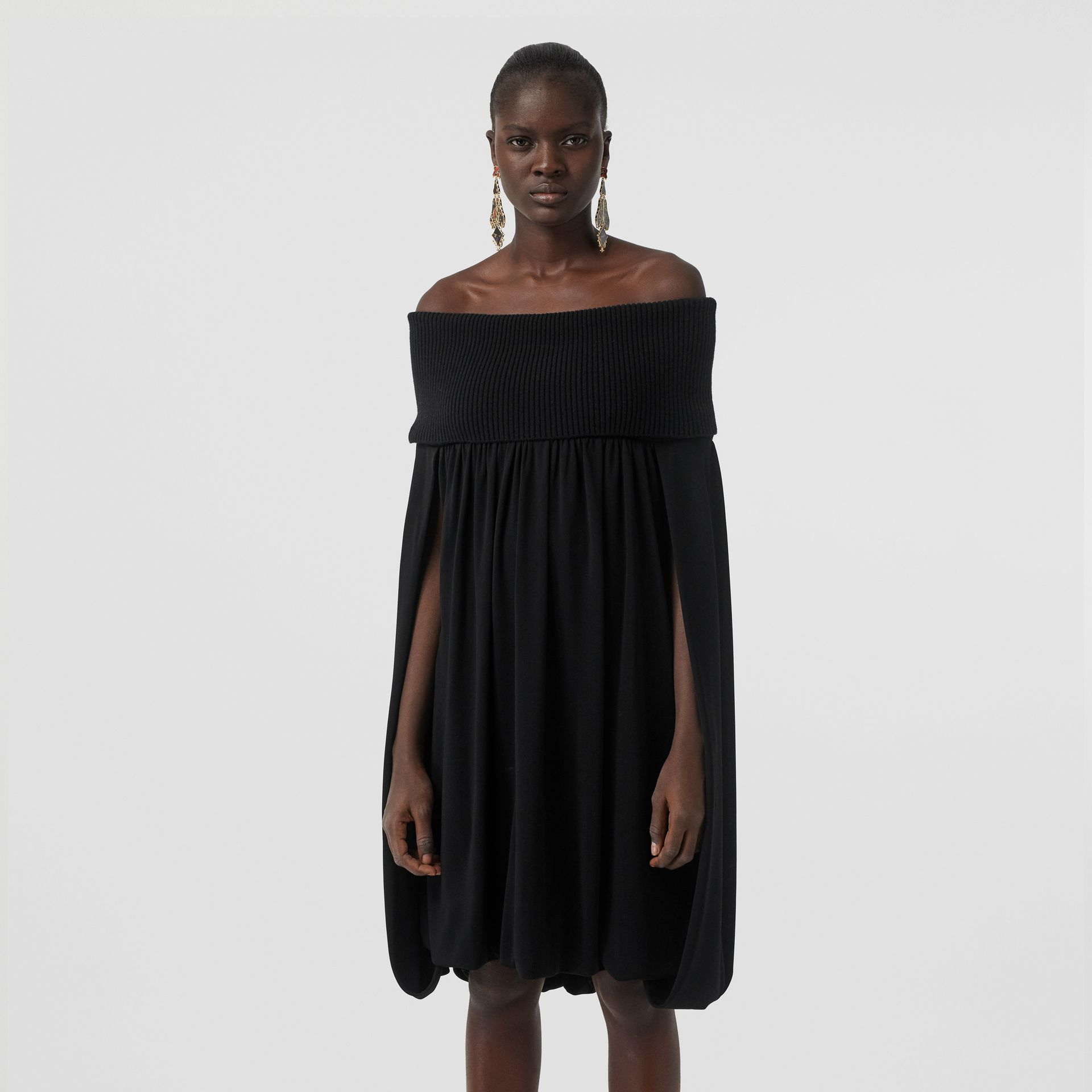 Off-the-shoulder Wool and Crepe Dress in Black - Women | Burberry - gallery image 3