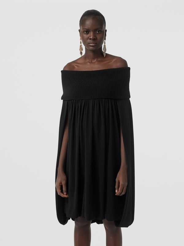 Off-the-shoulder Wool and Crepe Dress in Black - Women | Burberry Singapore - cell image 3