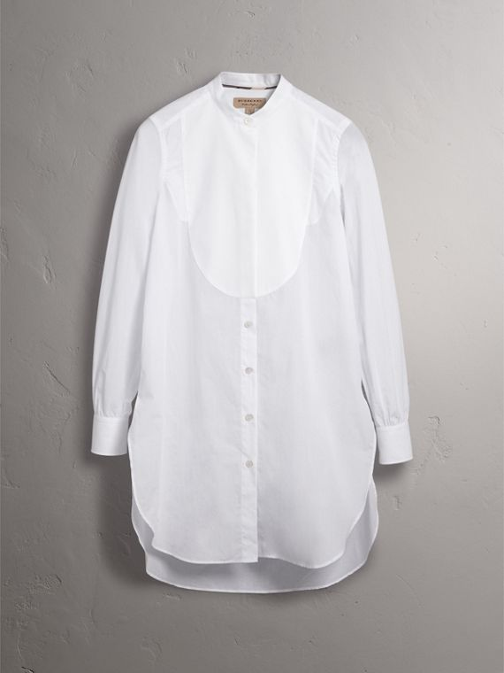 Bib Detail Cotton Longline Tunic Shirt in White - Women | Burberry - cell image 3