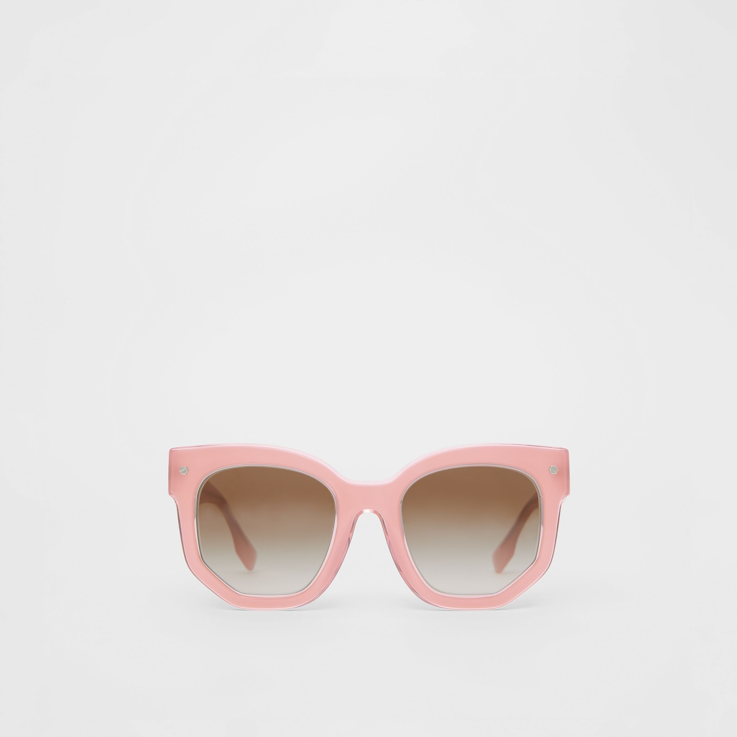 Geometric Frame Sunglasses in Pink - Women | Burberry - 1