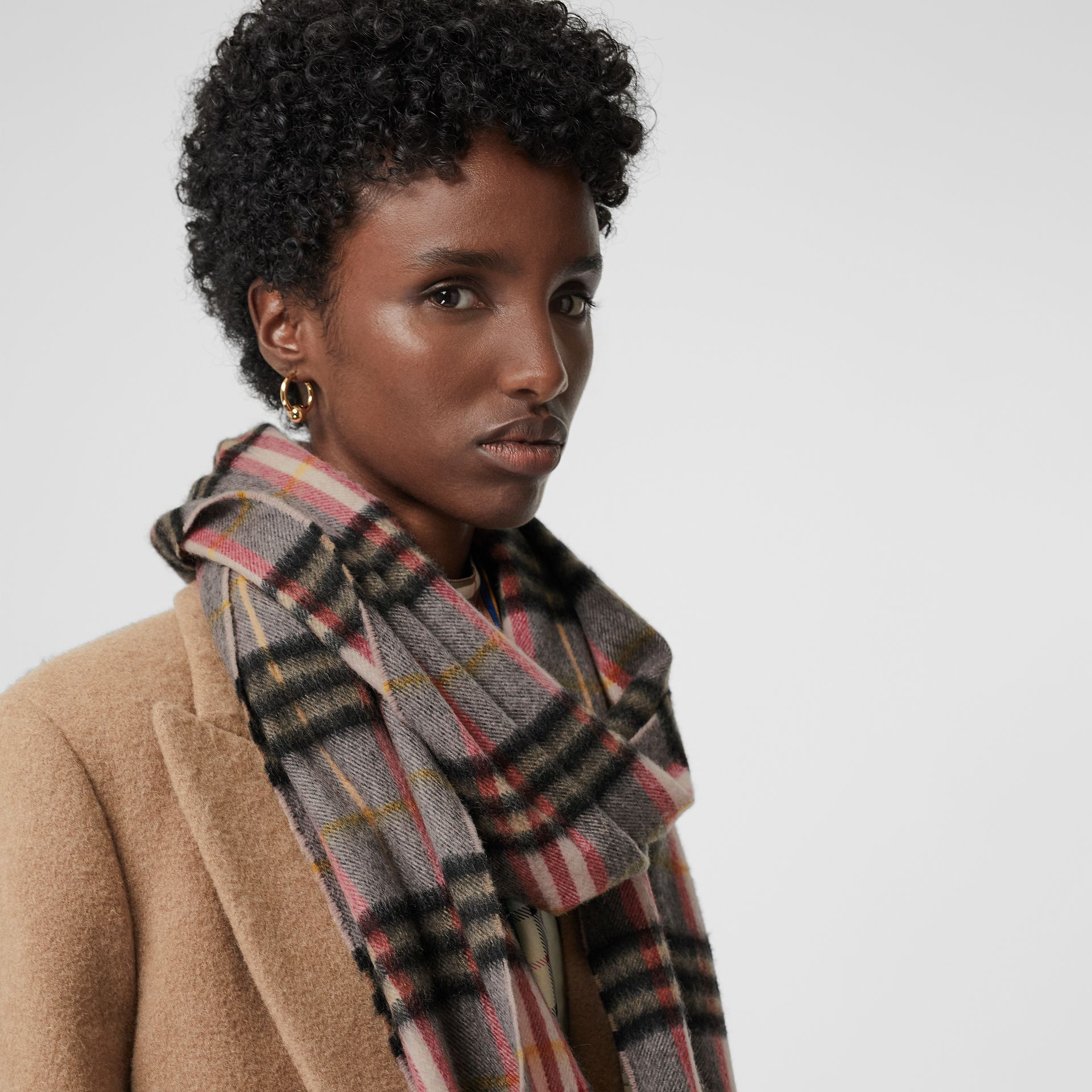 Check Cashmere Scarf in Ash Rose | Burberry United Kingdom - gallery image 5