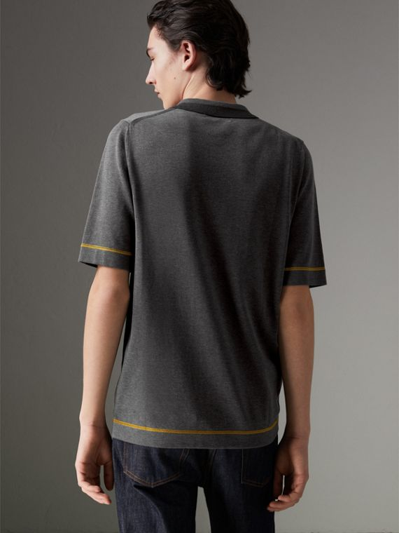 Tipped Cotton Jersey Polo Shirt in Mid Grey Melange - Men | Burberry Australia - cell image 2