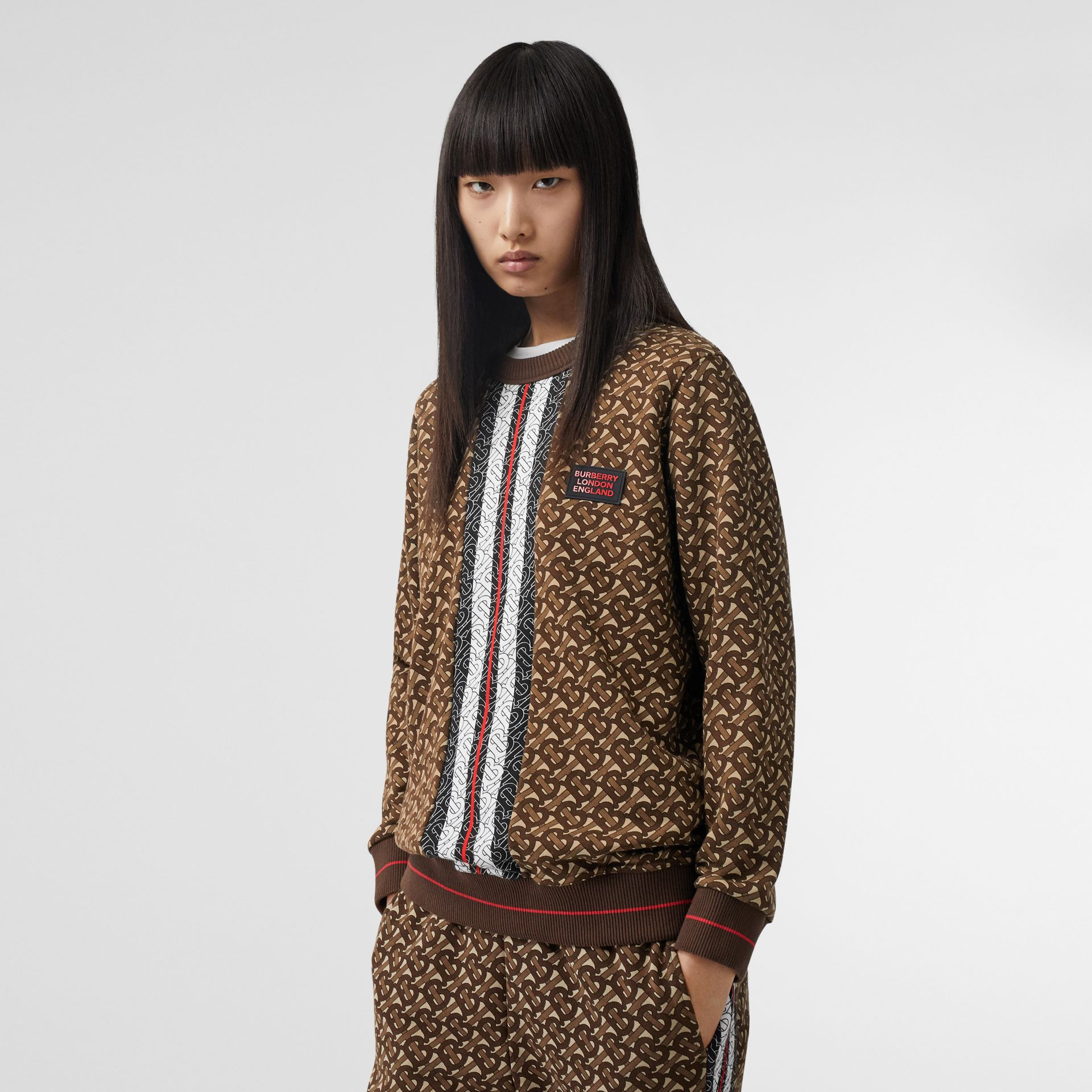 Monogram Stripe Print Cotton Oversized Sweatshirt in Bridle Brown - Women | Burberry - gallery image 6