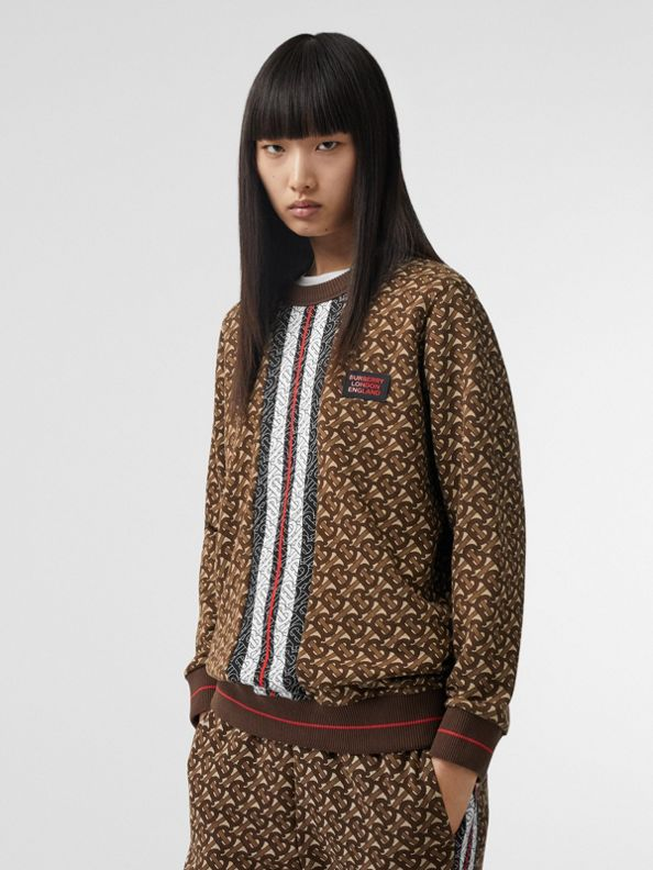 Monogram Stripe Print Cotton Oversized Sweatshirt in Bridle Brown