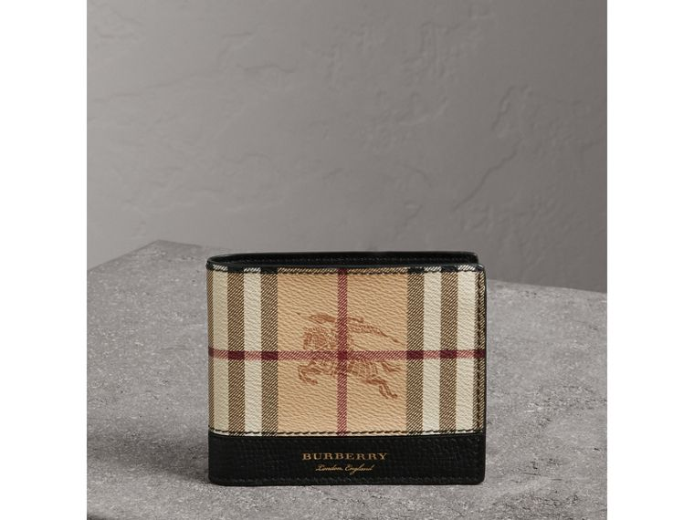 Haymarket Check and Leather ID Wallet in Black - Men | Burberry - cell image 4