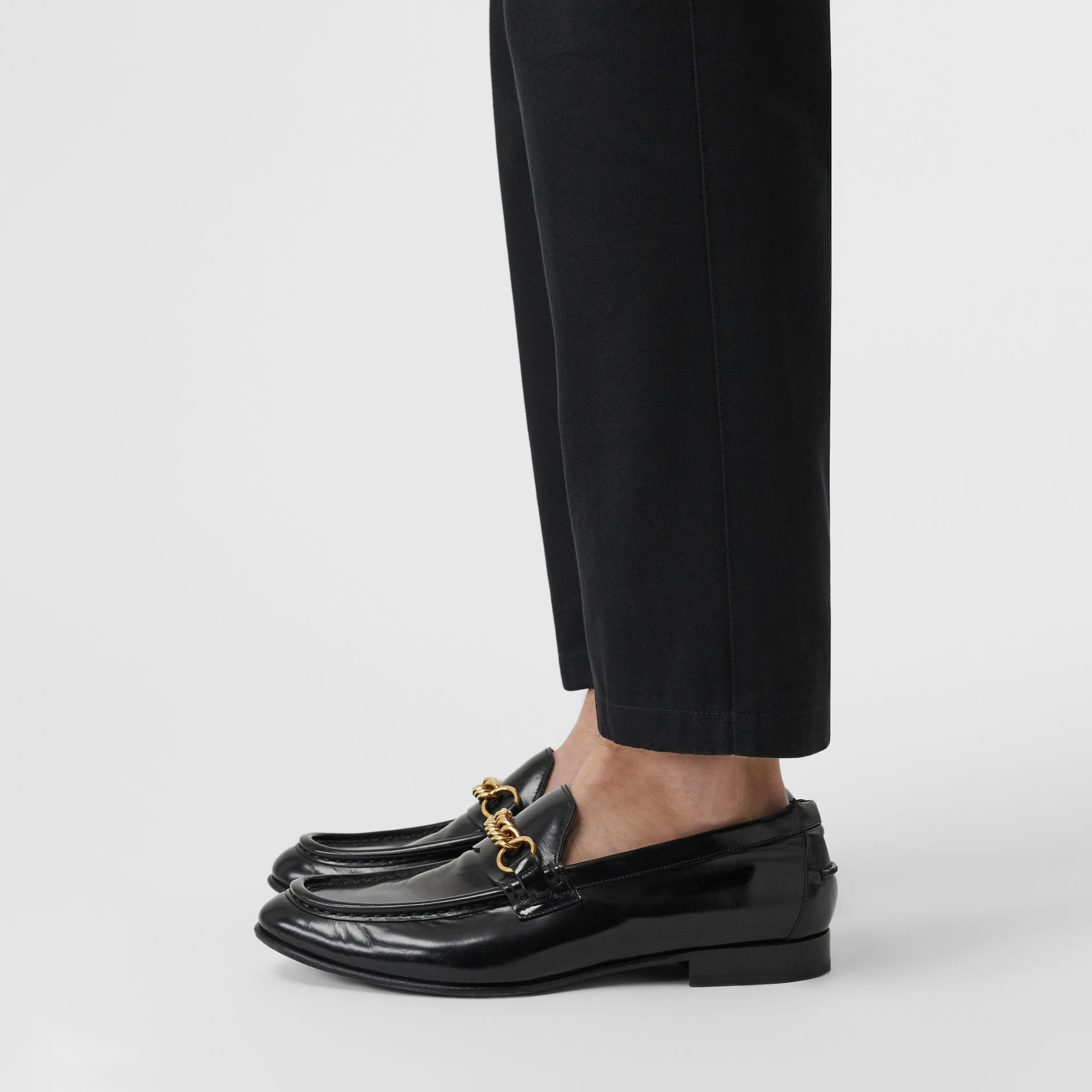 The Leather Link Loafer in Black - Men | Burberry - gallery image 2