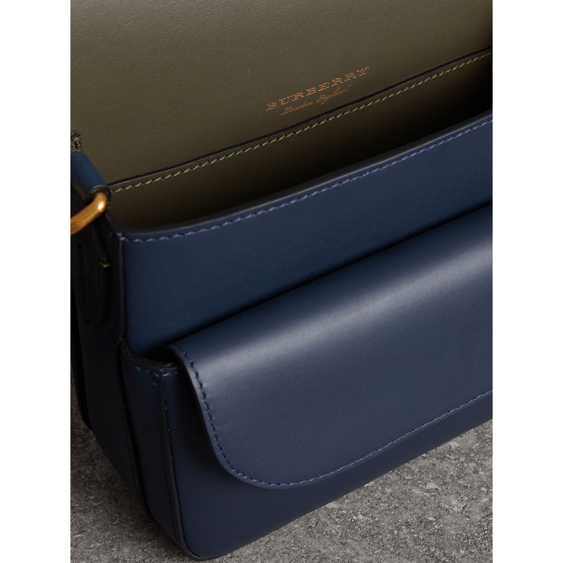 The Medium Square Satchel in Leather in Mid Indigo - Women | Burberry United States - gallery image 5
