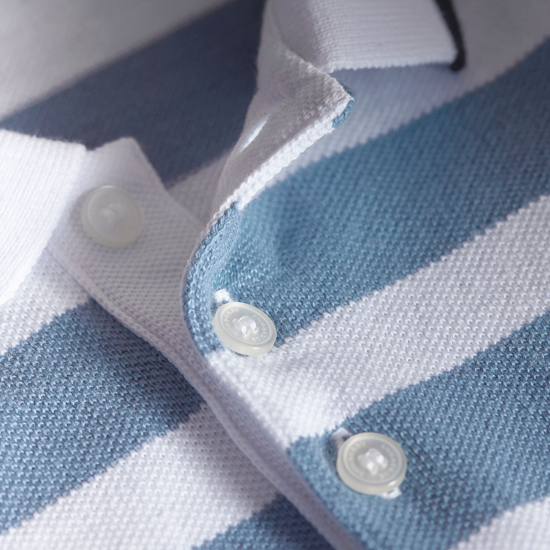 Striped Cotton Polo Shirt in Slate Blue | Burberry - gallery image 2