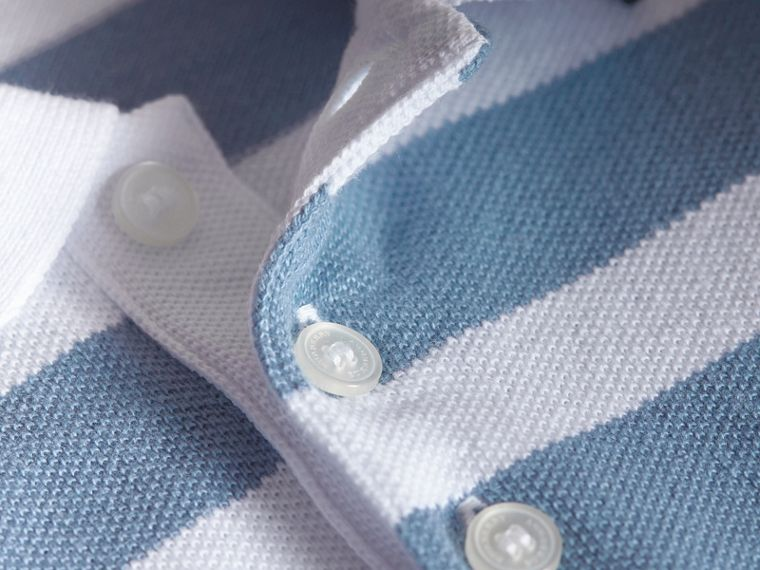 Striped Cotton Polo Shirt in Slate Blue - Children | Burberry - cell image 1