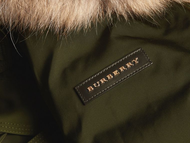 Dark cedar green Down-filled Parka Coat with Detachable Fur Trim Dark Cedar Green - cell image 1