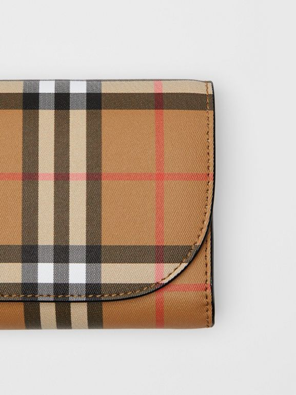 Detachable Strap Vintage Check Leather Wallet in Black - Women | Burberry - cell image 1