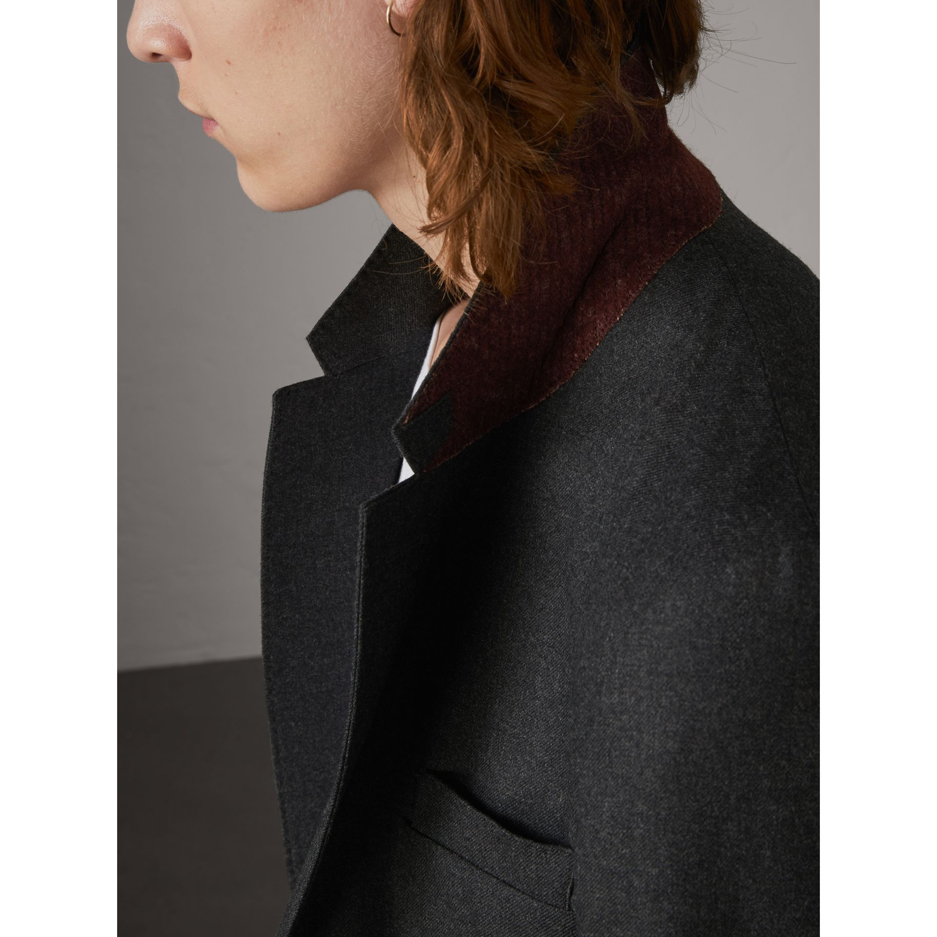 Bird Button Wool Tailored Jacket in Dark Grey Melange - Men | Burberry - gallery image 4