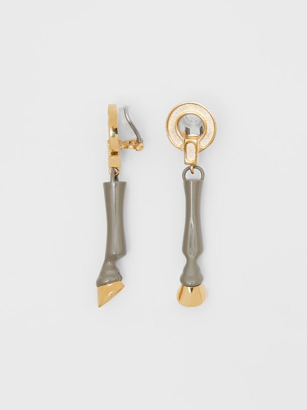 Resin and Gold-plated Hoof Drop Earrings in Honey - Women | Burberry - cell image 3
