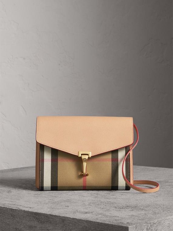 Kleine Crossbody-Tasche aus Leder und House Check-Gewebe (Helles Aprikosenfarben) - Damen | Burberry