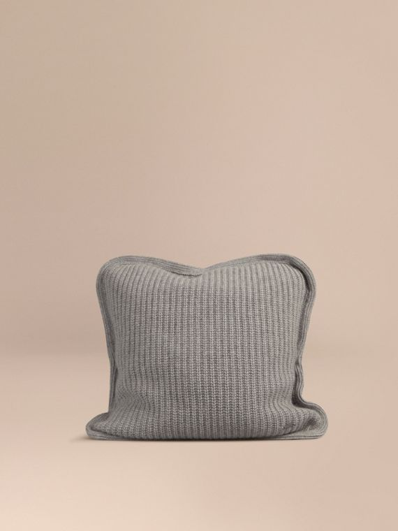 Knitted Cashmere Cushion Cover Light Grey Melange