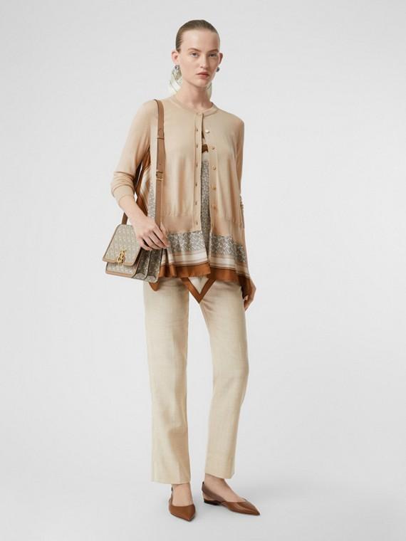 Stripe Detail Wool Silk Linen Tailored Trousers in Sesame