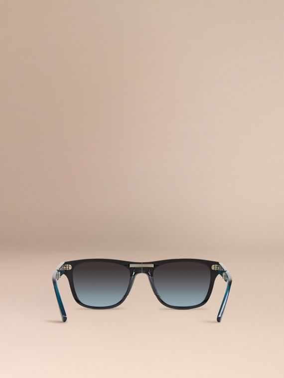 Black Foldable Rectangular Frame Sunglasses - cell image 2