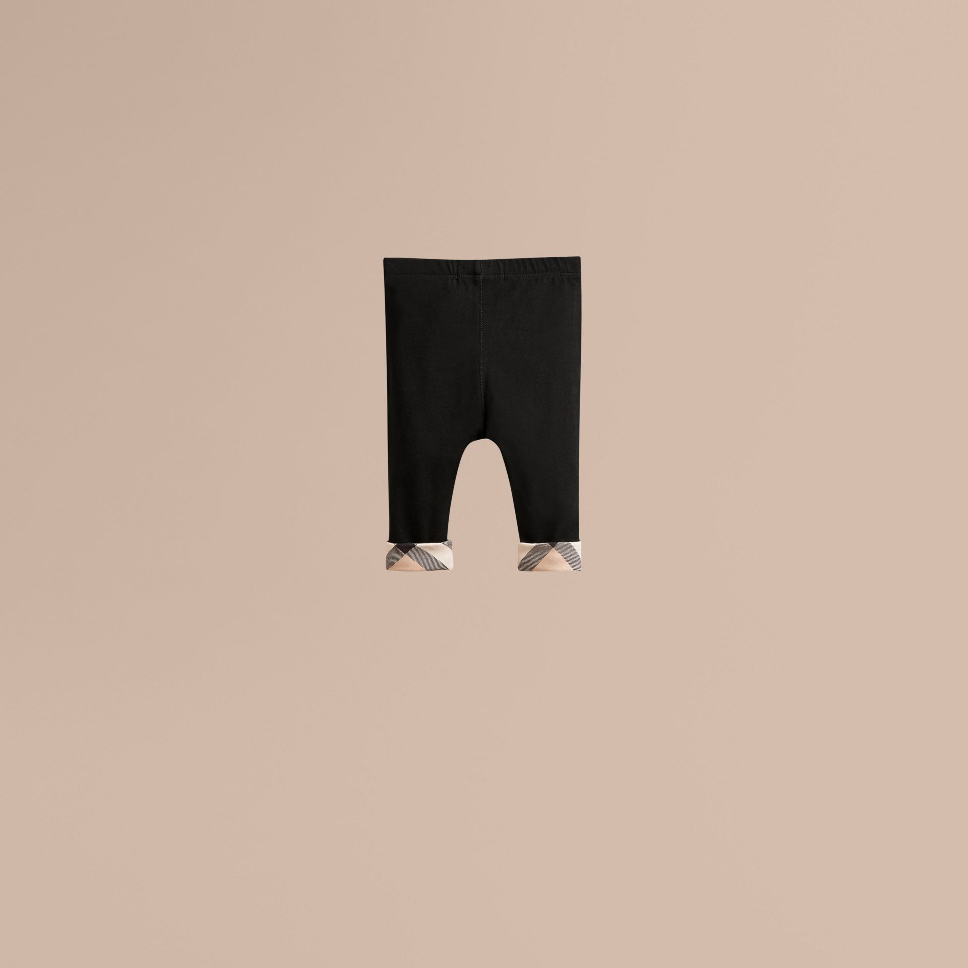 Check Detail Cotton Leggings in Black - Girl | Burberry Australia - gallery image 3