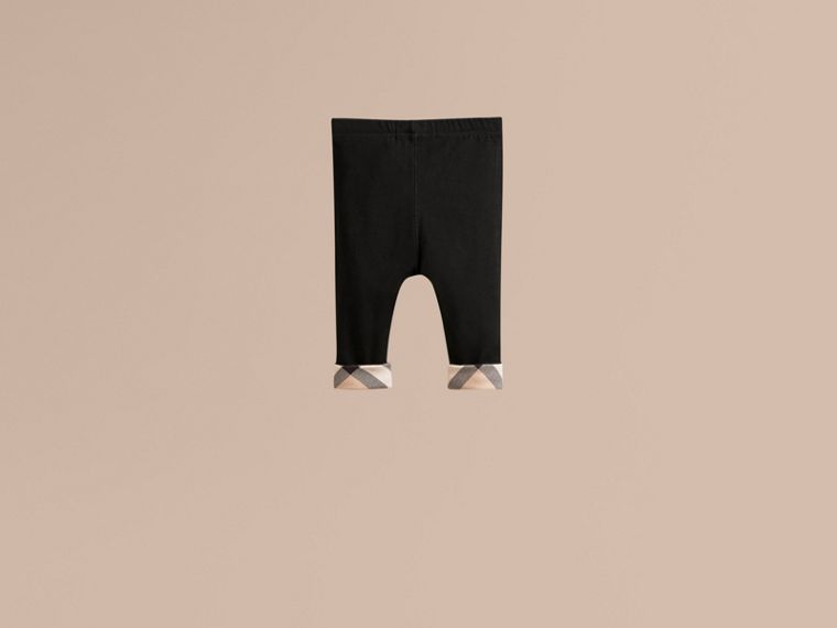 Check Detail Cotton Leggings in Black - Girl | Burberry - cell image 2