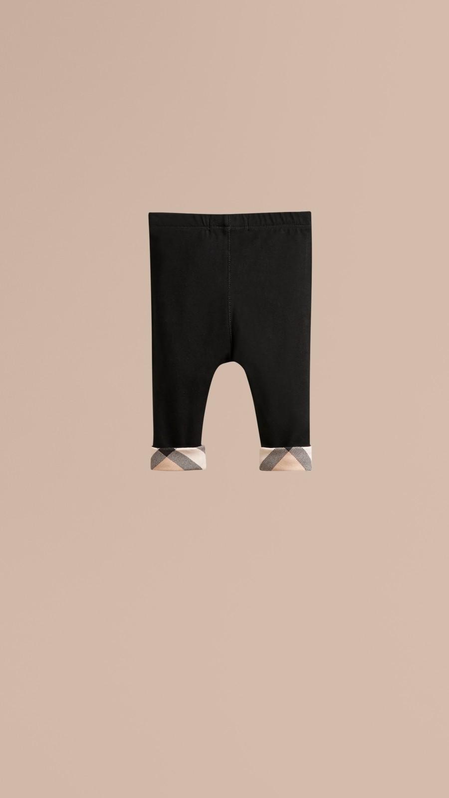 Black Check Detail Cotton Leggings Black - Image 3