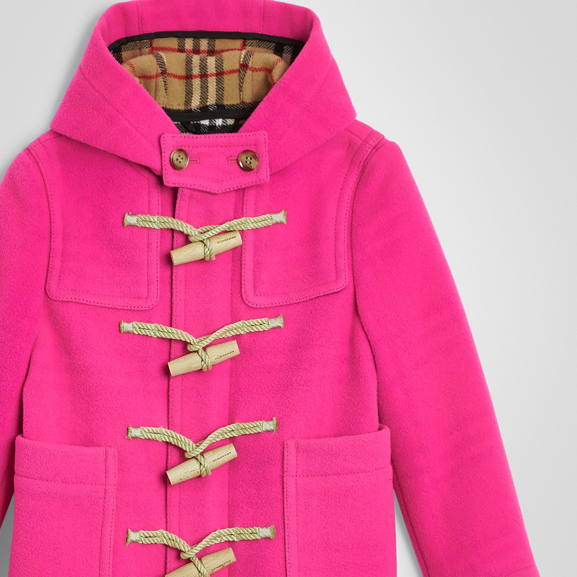 Double-faced Wool Duffle Coat in Neon Pink | Burberry - gallery image 4