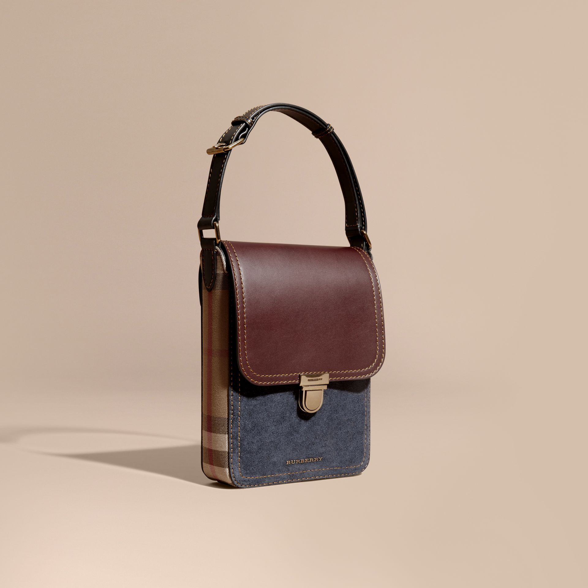Wine The Small Satchel in Suede and House Check - gallery image 1