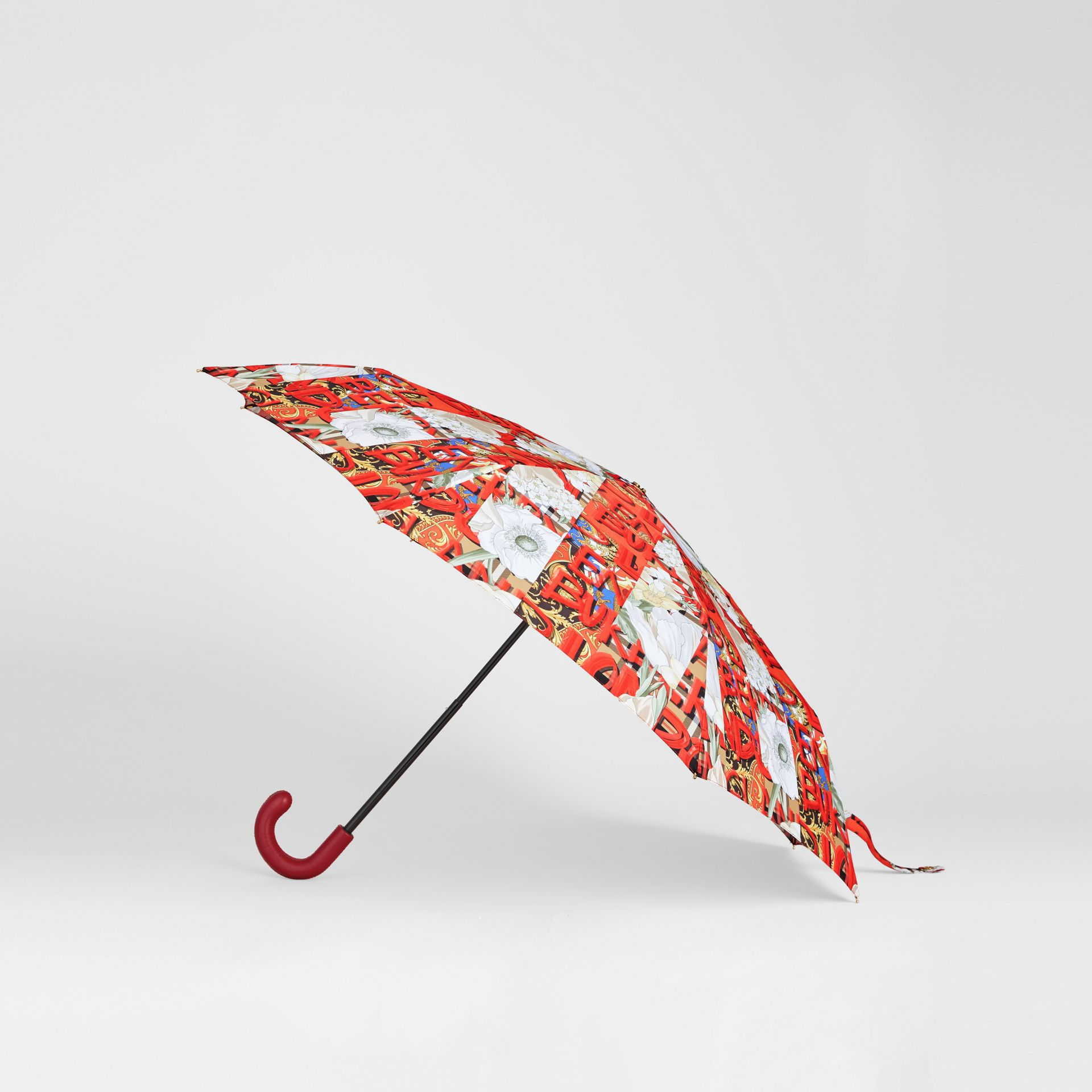 Graffiti Archive Scarf Print Folding Umbrella in Multicolour | Burberry United States - gallery image 3