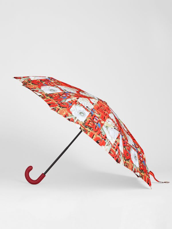 Graffiti Archive Scarf Print Folding Umbrella in Multicolour | Burberry United States - cell image 3