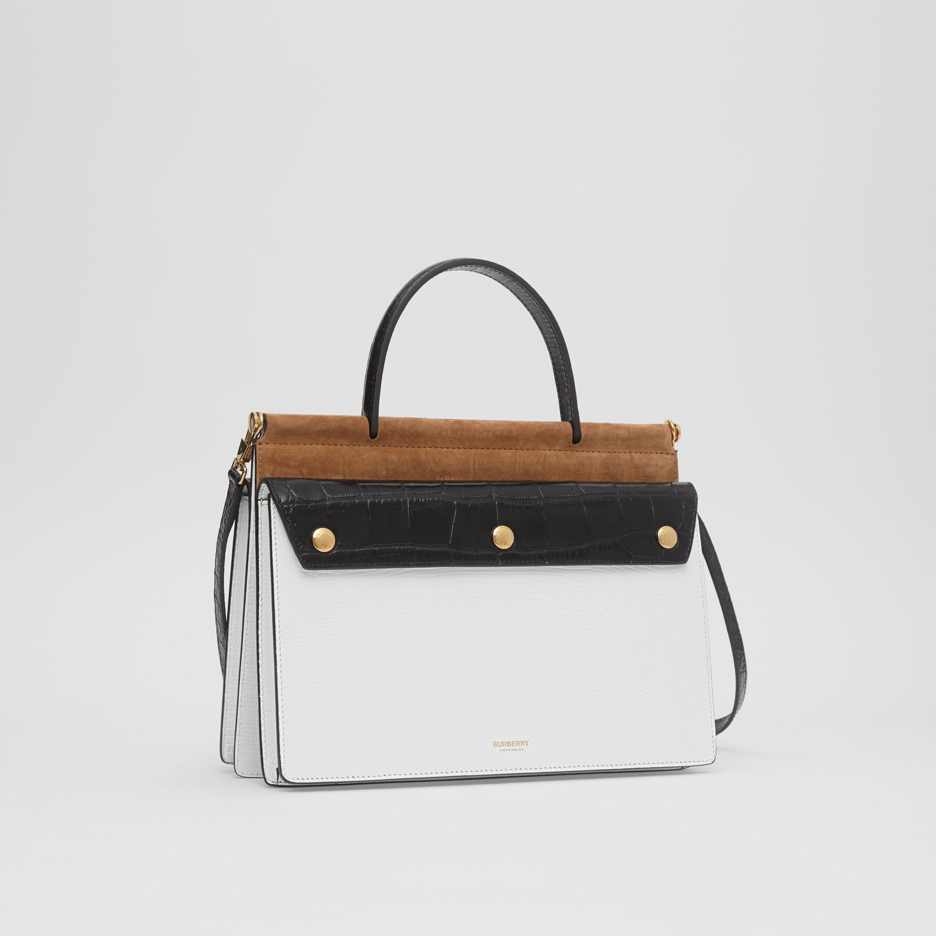 Small Deerskin Title Bag with Pocket Detail in White/maple - Women | Burberry Australia - gallery image 4