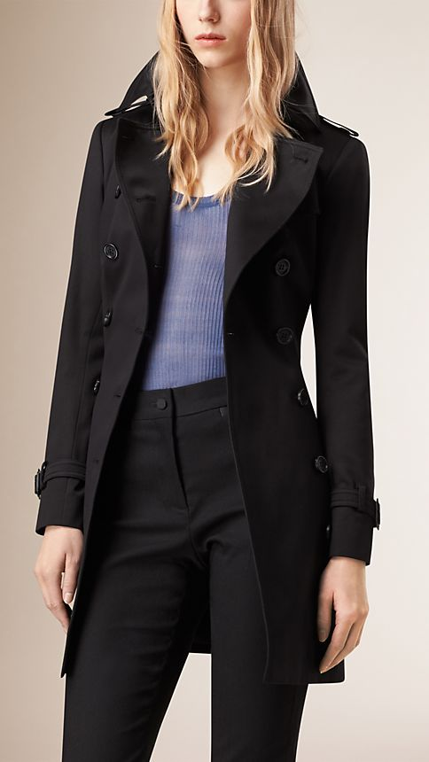 Black Cotton Sateen Trench Coat Black - Image 3