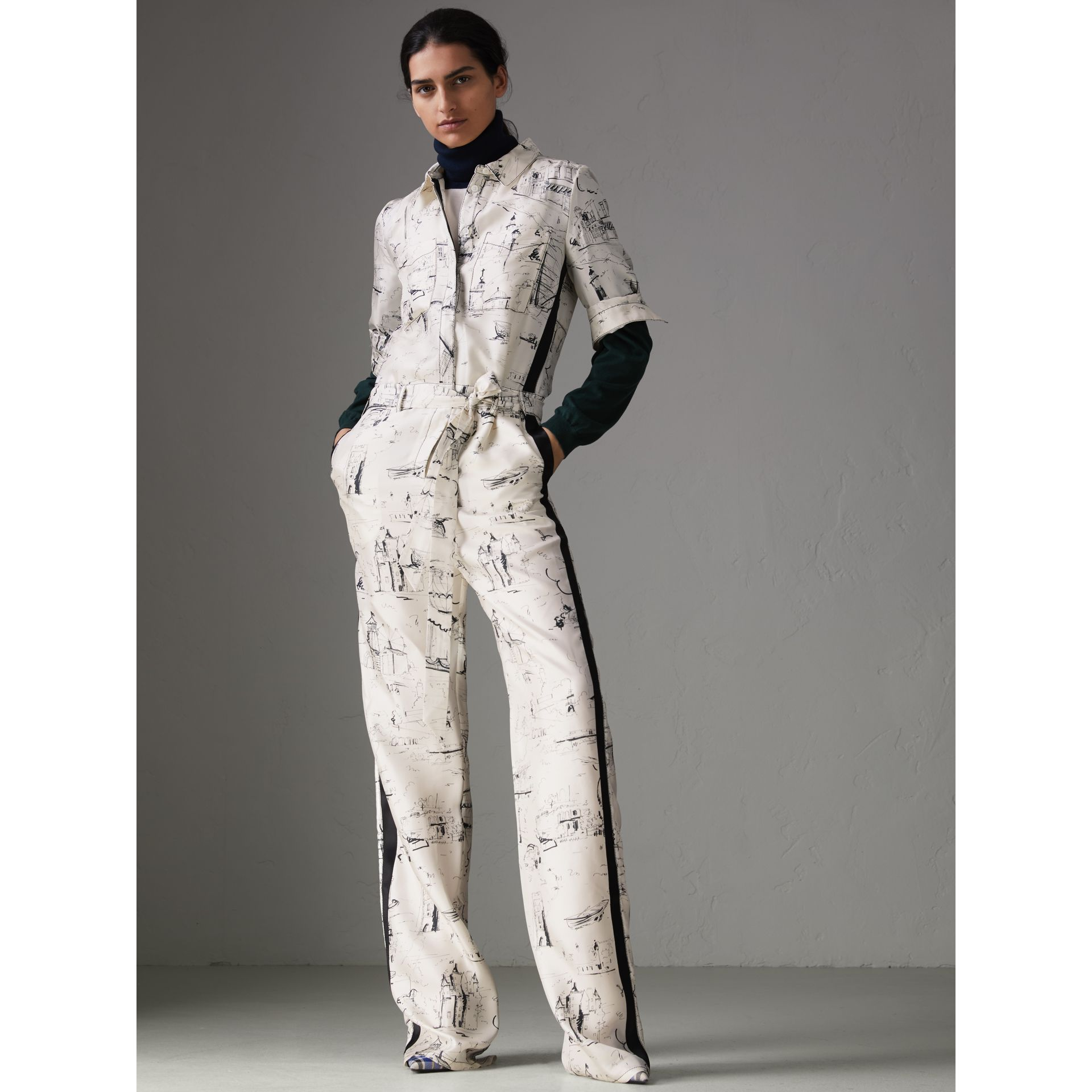 Landmark Print Silk Jumpsuit in Off White/black - Women | Burberry - gallery image 4