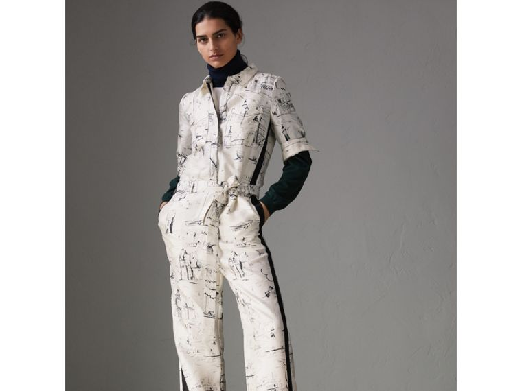 Landmark Print Silk Jumpsuit in Off White/black - Women | Burberry - cell image 4