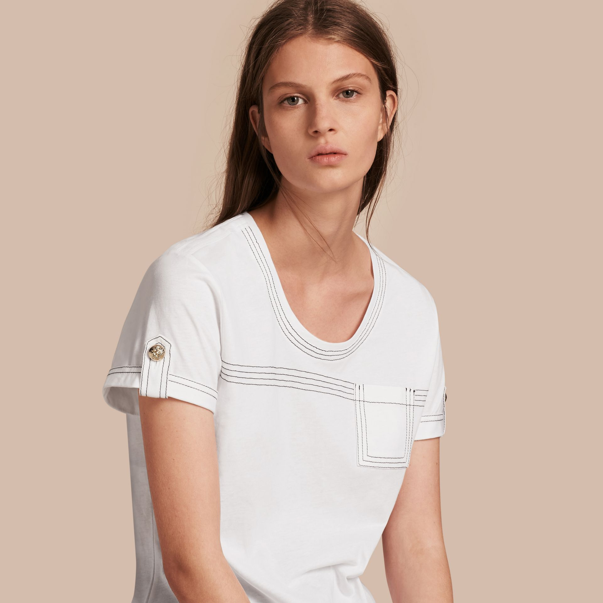White Topstitch Detail Cotton T-shirt White - gallery image 1