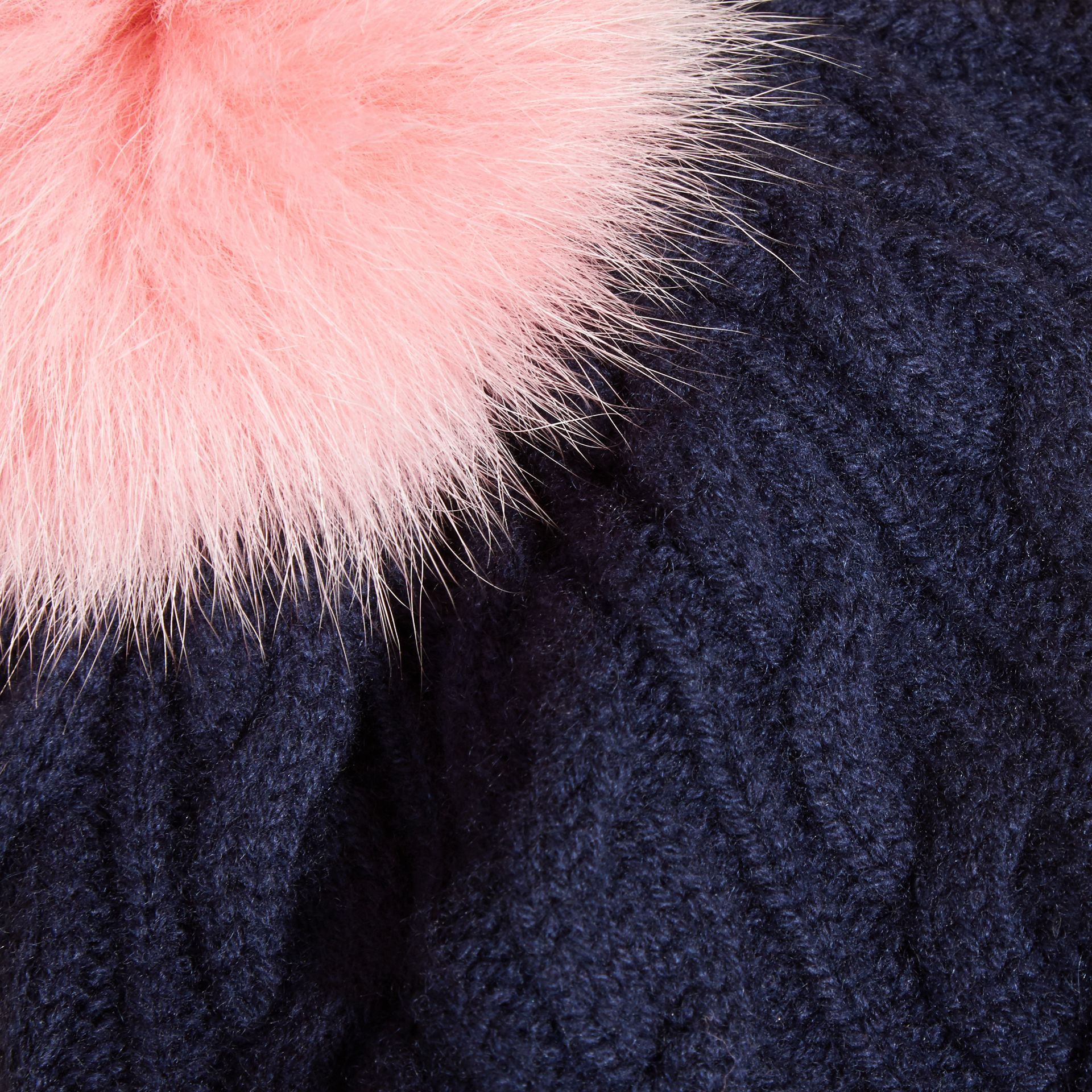 Navy/rose pink Wool Cashmere Cable Knit Beanie with Two-tone Fur Pom-Pom Navy/rose Pink - gallery image 2