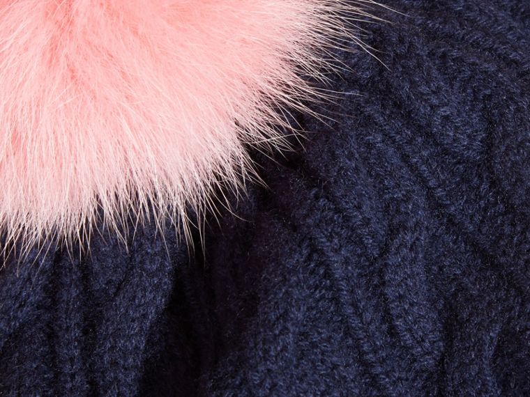 Navy/rose pink Wool Cashmere Cable Knit Beanie with Two-tone Fur Pom-Pom Navy/rose Pink - cell image 1