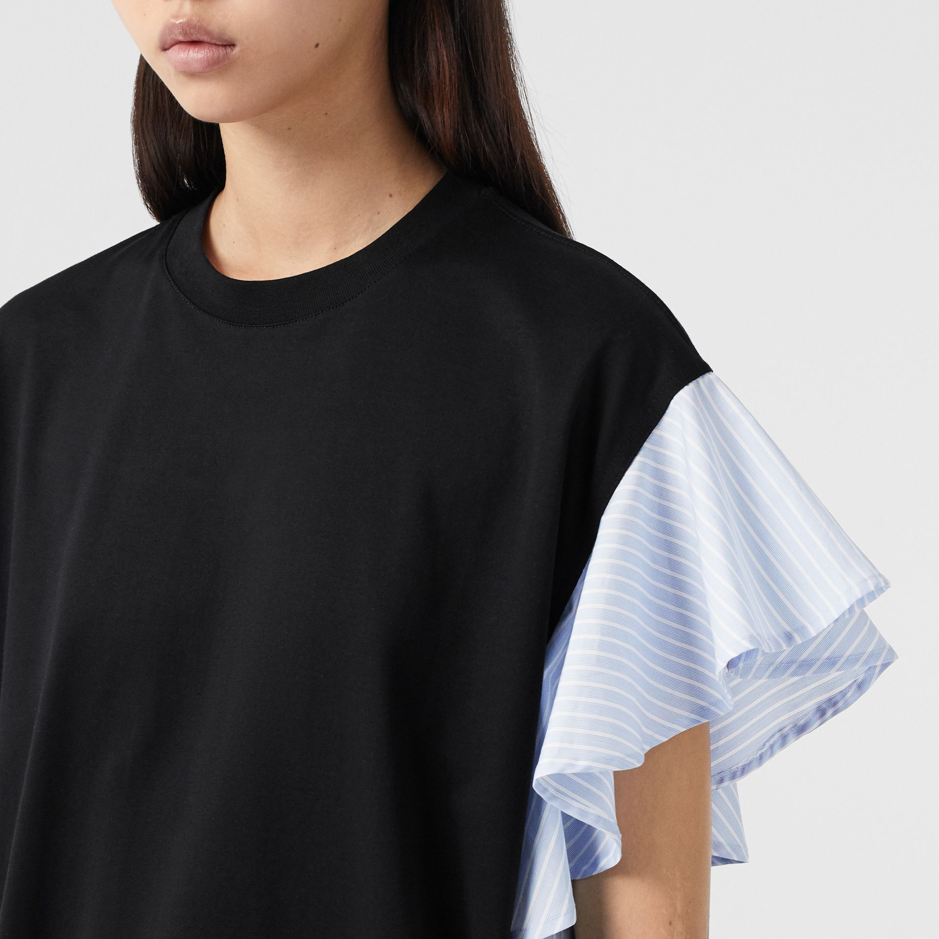 Ruffled Sleeve Cotton Oversized T-shirt in Black - Women | Burberry Hong Kong S.A.R - gallery image 1