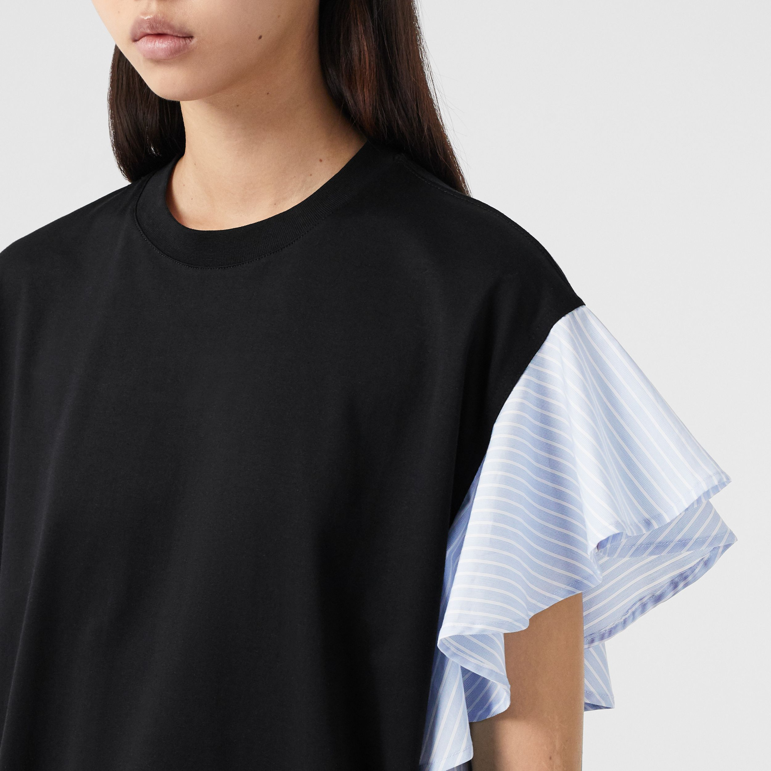 Ruffled Sleeve Cotton Oversized T-shirt in Black - Women | Burberry - 2