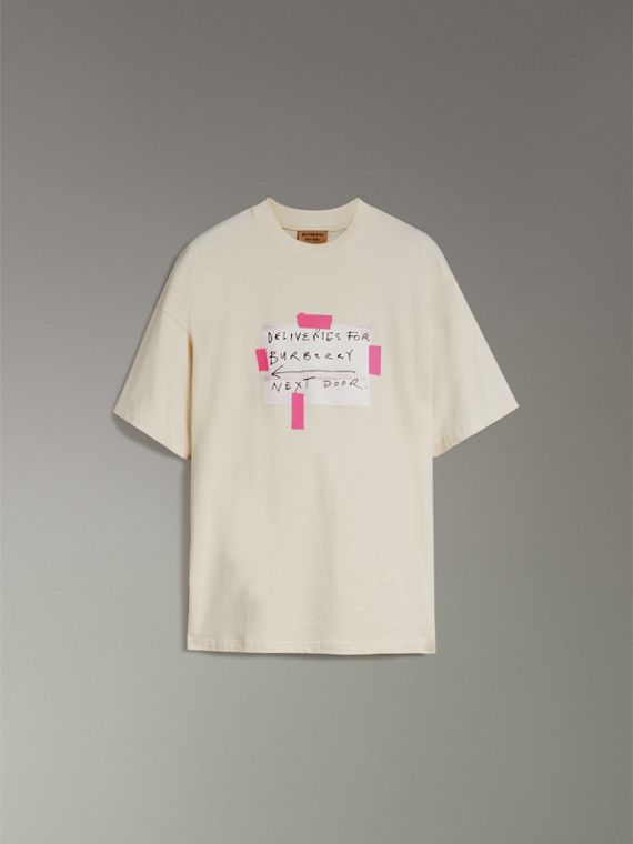 Sign Print Cotton T-shirt in Natural White - Men | Burberry United States - cell image 3