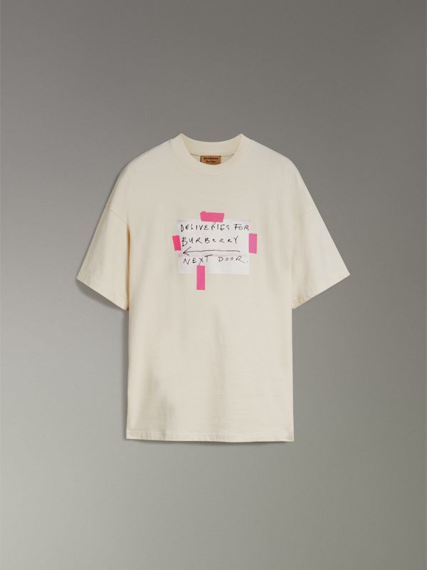 Sign Print Cotton T-shirt in Natural White - Men | Burberry - cell image 3
