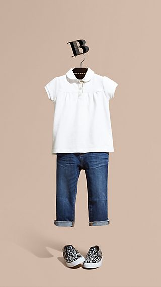 Ruched Detail Stretch Cotton Polo Shirt