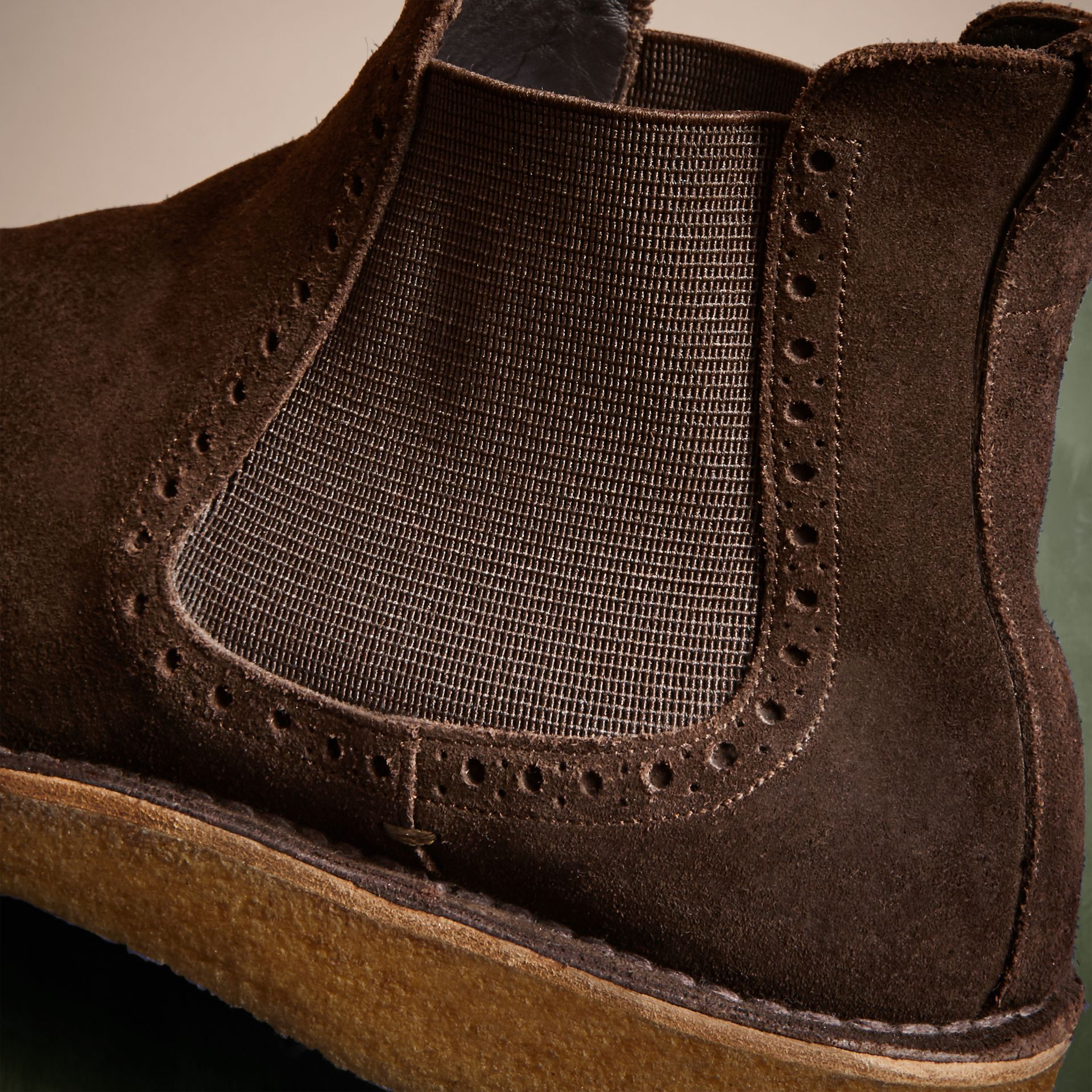 Peat brown Washed-suede Chelsea Boots with Crepe Soles - gallery image 2