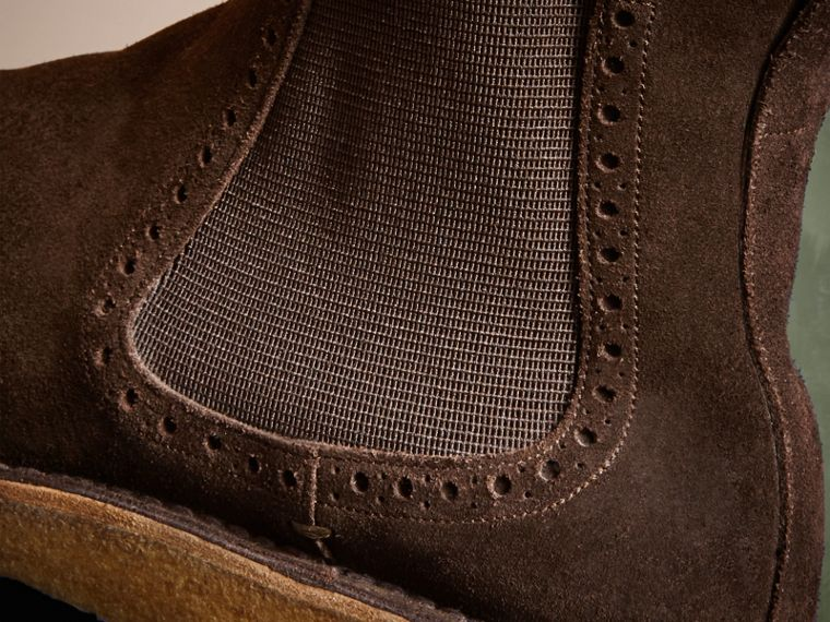 Peat brown Washed-suede Chelsea Boots with Crepe Soles - cell image 1