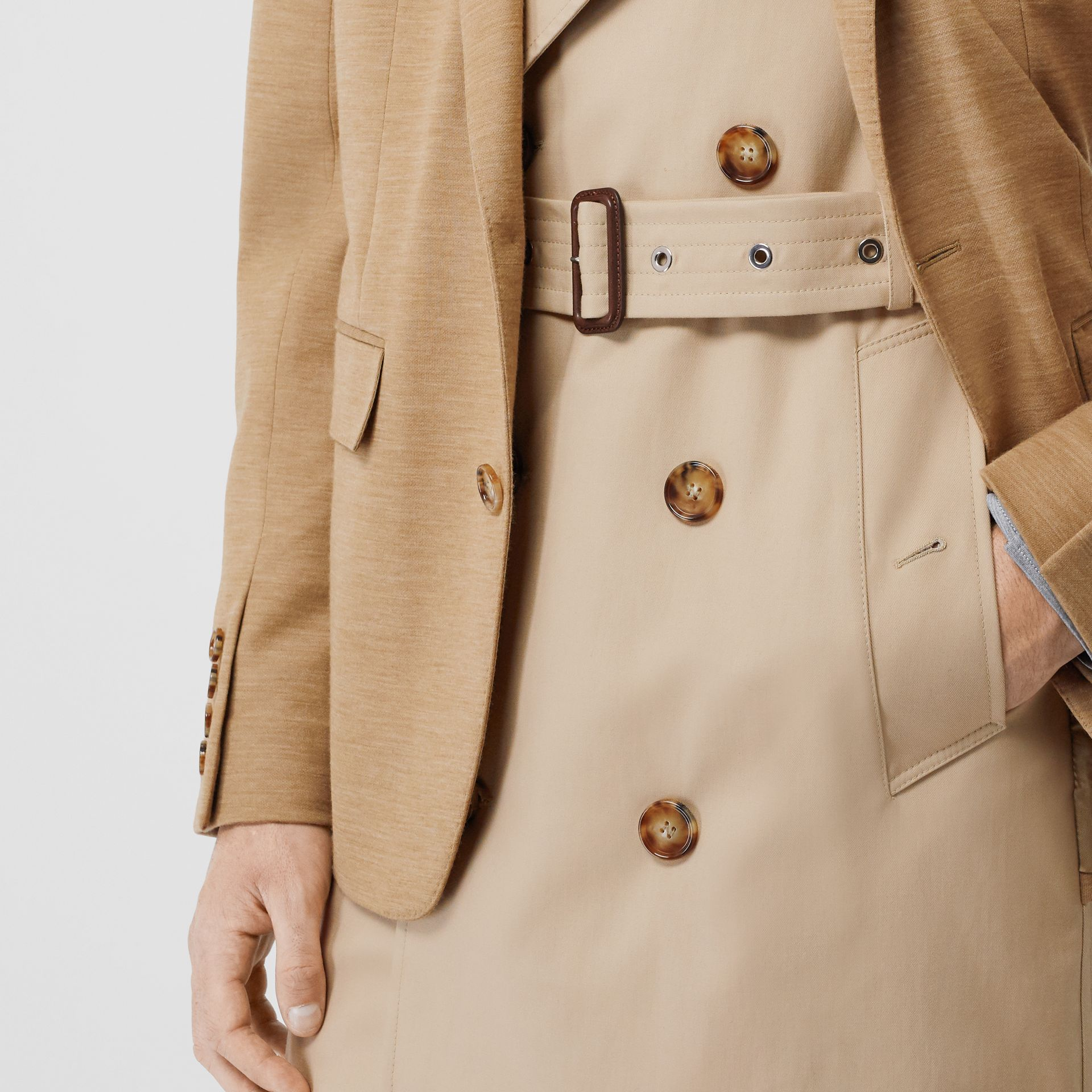 Blazer Detail Cotton Twill Reconstructed Trench Coat in Soft Fawn - Men | Burberry - gallery image 5