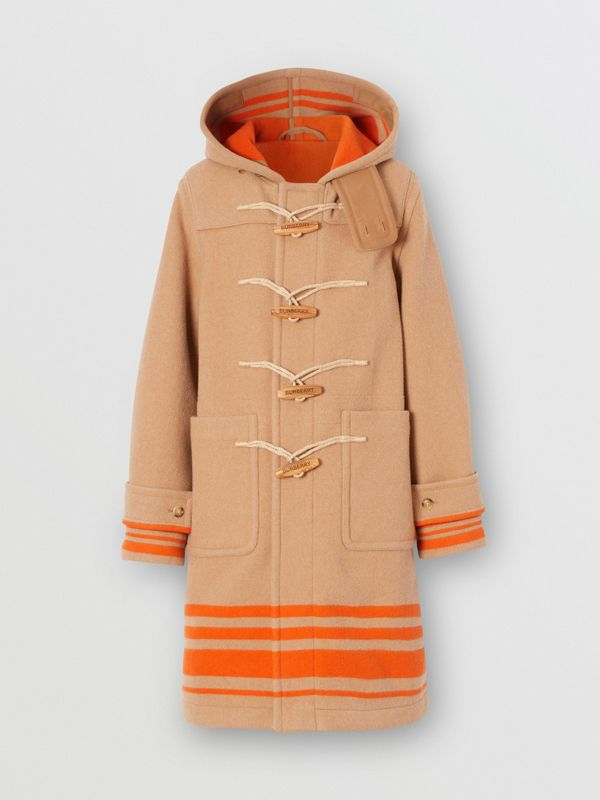Striped Double-faced Wool Duffle Coat in Camel/orange - Men | Burberry - cell image 3