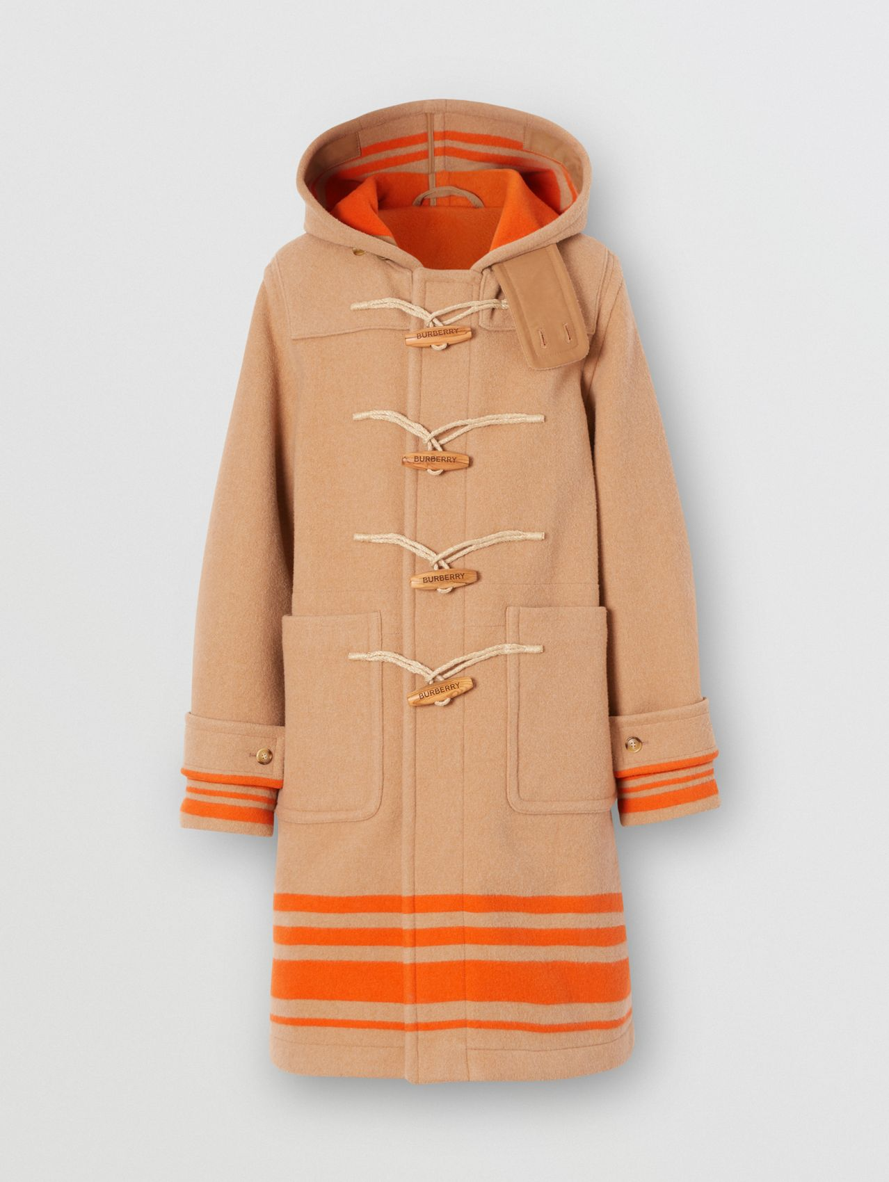 Striped Double-faced Wool Duffle Coat in Camel/orange